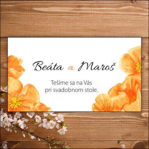 Svadobné pozvánky- oranžové kvety