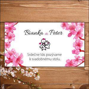 Svadobné pozvánky-čerešňové kvety