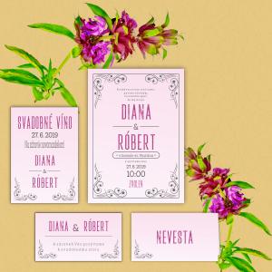 Svadobné oznámenia, Diana a Róbert, ružový podklad