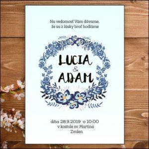 Svadobné oznámenie modré kvety