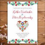Svadobné oznámenie folk srdce