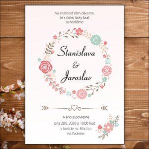 Svadobné oznámenie bledo ružové