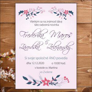 Svadobné oznámenie bledo fialové