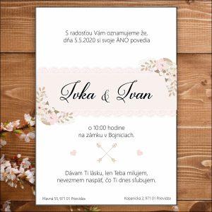 Svadobné oznámenie bielo ružové čipka