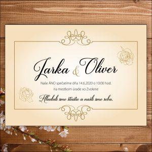 Svadobné oznámenie bielo zlaté ruže