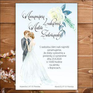 Svadobné oznámenia bledo modré, motív nevesta ženích