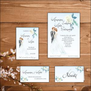 SET - Svadobné oznámenie, etiketa na fľašu, pozvánka a menovka bledo modré, motív nevesta ženích