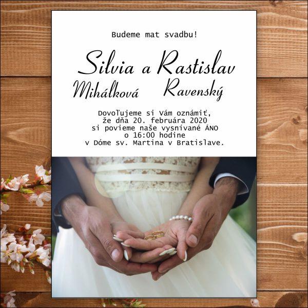 Svadobné oznámenie biele šaty
