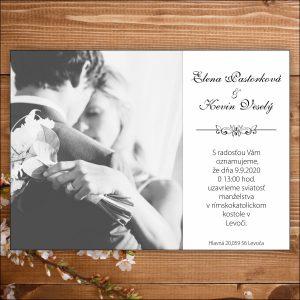 Svadobné oznámenie čierno biele