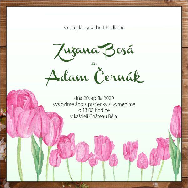 Svadobné oznámenie ružové tulipány