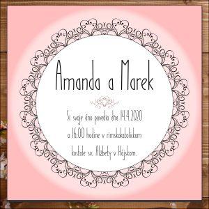 Svadobné oznámenie ružové srdiečka