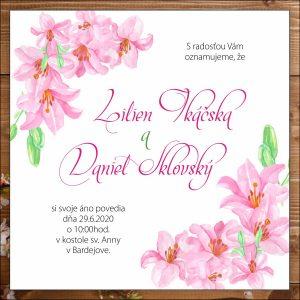 Svadobné oznámenie ružové ľalie