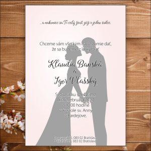 Svadobné oznámenie sivo ružové