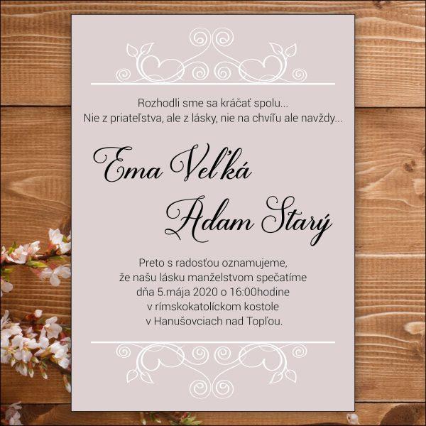 Svadobné oznámenie biele ornamenty