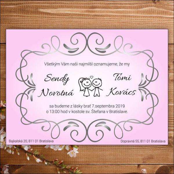 Svadobné oznámenie ružové nevesta ženích