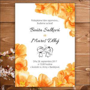 Svadobné oznámenie oranžové kvety