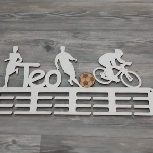 Vešiak na medaily pre športovcov bežkyňa, futbalista a cyklista biela farba