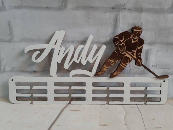 Vešiak na medaile hokejista biela Andy