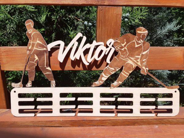 Vešiak na medaile hokejista prírodná natúr farba Viktor