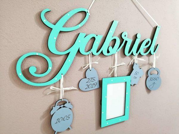 Detské meno s údajmi o narodení Gabriel, tyrkys