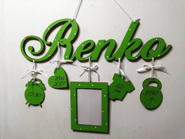 Detské meno s údajmi o narodení Renko, zelená