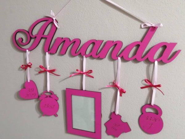 Detské meno s údajmi o narodení Amanda, cyklámen