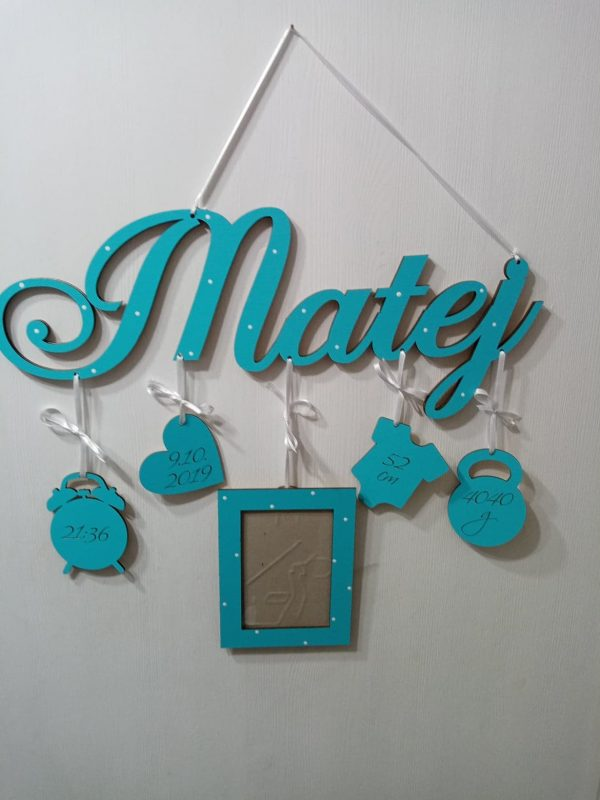 Detské meno s údajmi o narodení Matej, tyrkys