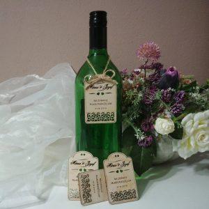 etiketa na fľašu z dreva