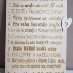 Gravírovaná tabuľka manželské desatoro, gravírované drevo, farba natúr