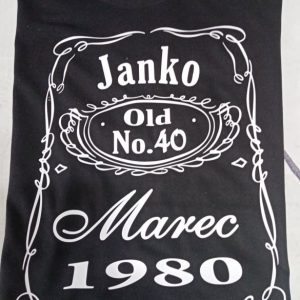 Čierne tričko Whiskey Janko, marec, 1980, old 40