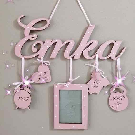 detské meno Emka s údajmi o narodení s fotoramikom
