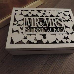 Svadobná krabica Mr @ Mrs s priezviskom, farba biela