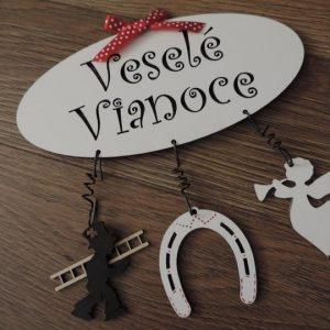 tabuľka Veselé Vianoce s príveskami kominár podkova anjel