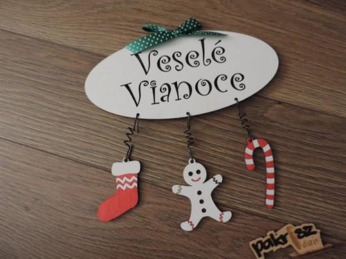 tabuľka Veselé Vianoce s príveskami