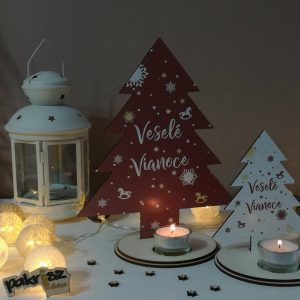 Vianočný drevený svietnik na jednu čajovú sviečku