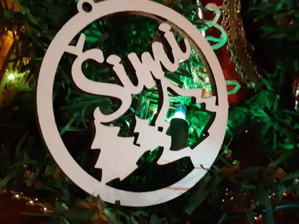 Vianočné ozdoby s menom, pesonalizovaný darček, biele