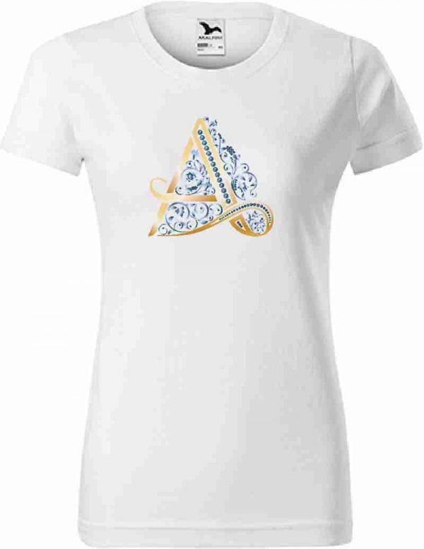 Dámske biele tričko s monogramom - luxury
