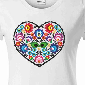 Slovakia folk srdiečko - biele dámske tričko detail motívu