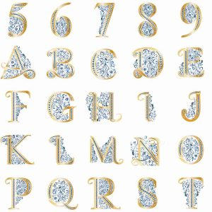 Monogramy a číslice pre luxury tričko s monogramom