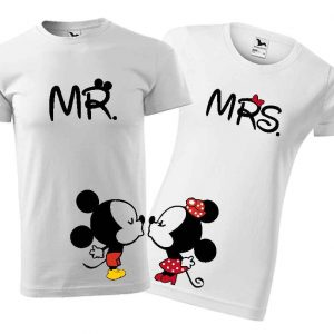 Biele tričká Mr. a Mrs. Mickey