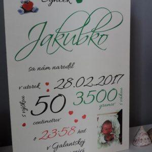 Detská tabuľka, tabuľka pre dieťa s údajmi o narodení dieťatka