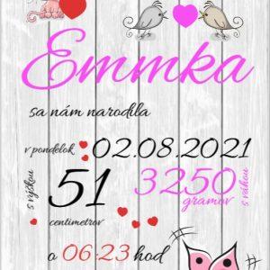 Detská tabuľka, tabuľka pre dieťa s údajmi o narodení dieťatka Emmka
